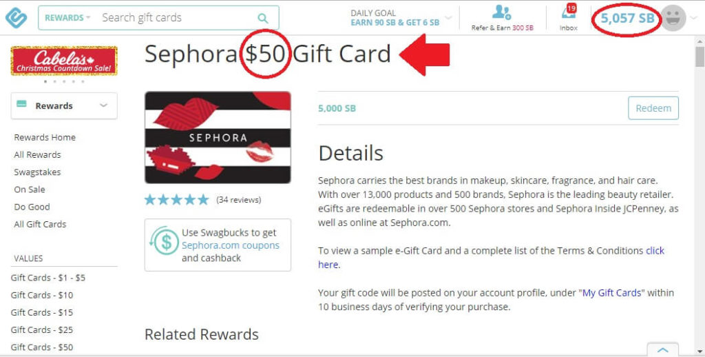 earn free Sephora gift cards