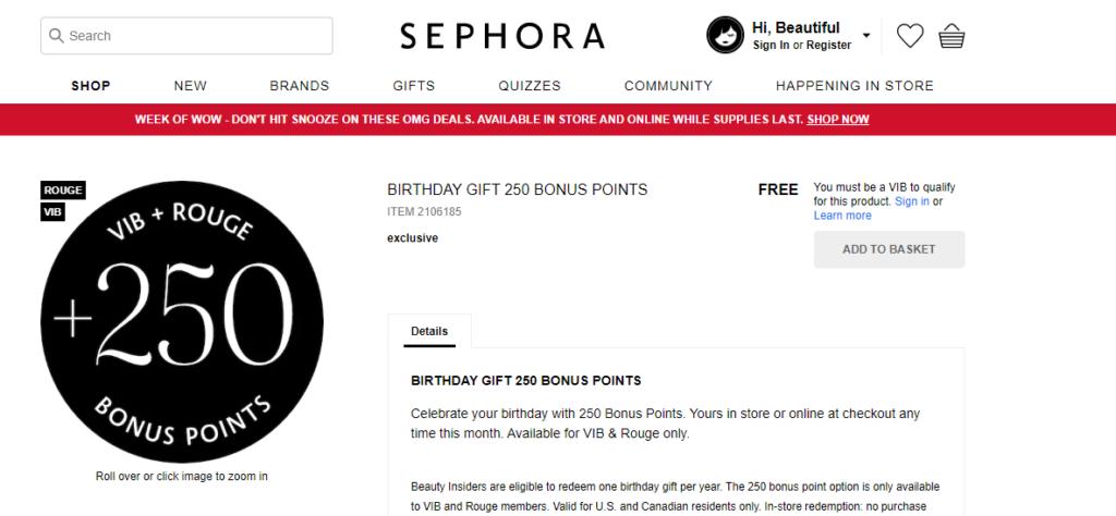sephora 250 bonus birthday points