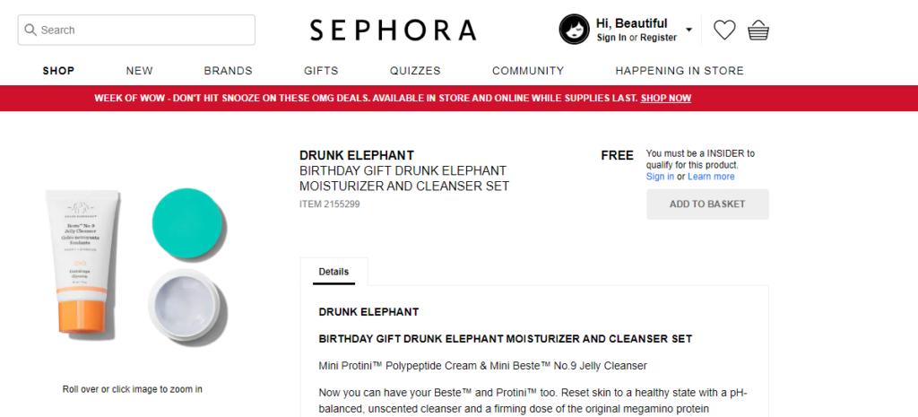 sephora birthday freebie drunk elephant