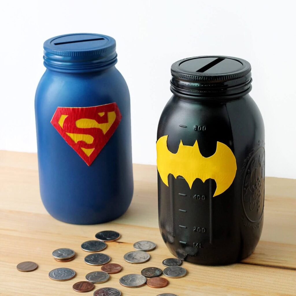 mason jar crafts superhero bank