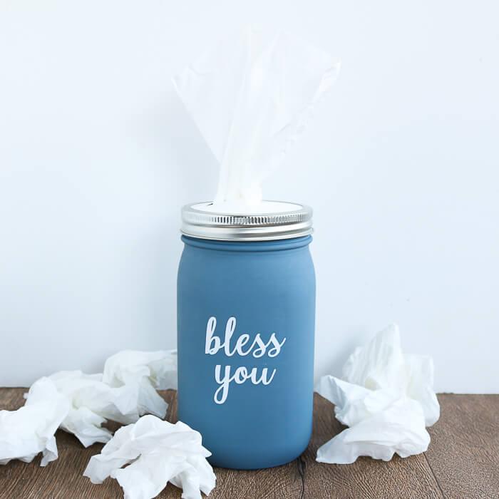 mason jar crafts tissue holder