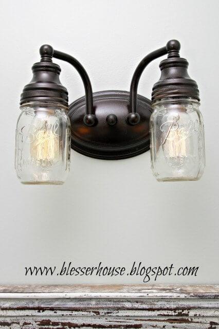 mason jar crafts vanity light