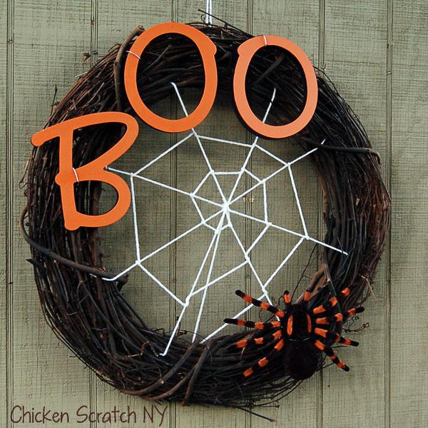 diy halloween decorations - spider web wreath