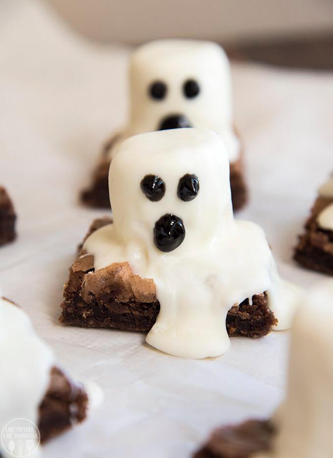 easy halloween desserts ghost brownies