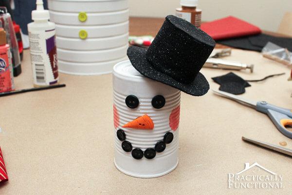 DIY dollar store tin can snowman