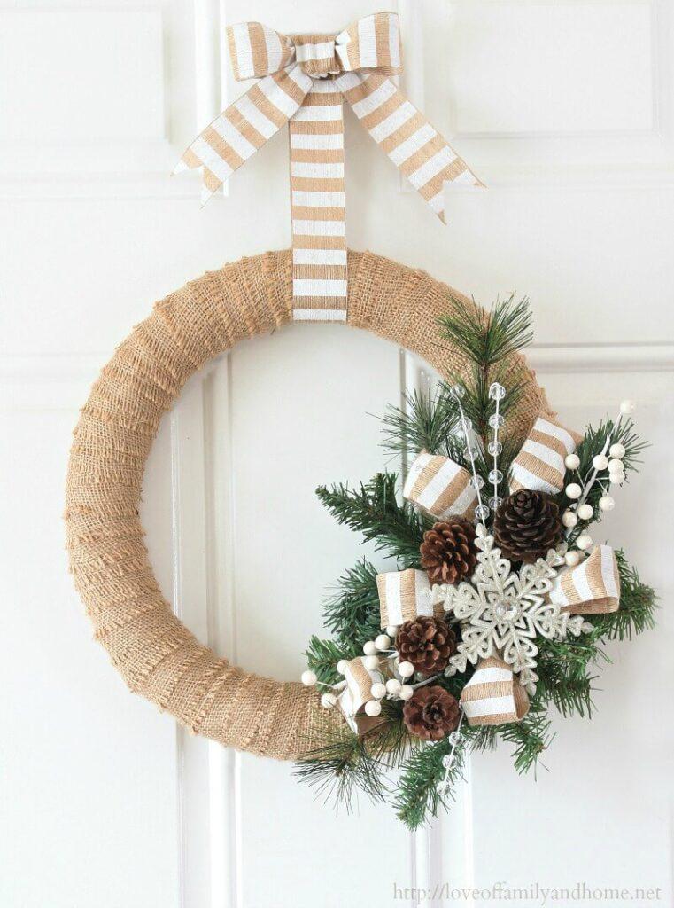 burlap diy wreath christmas dollar tree