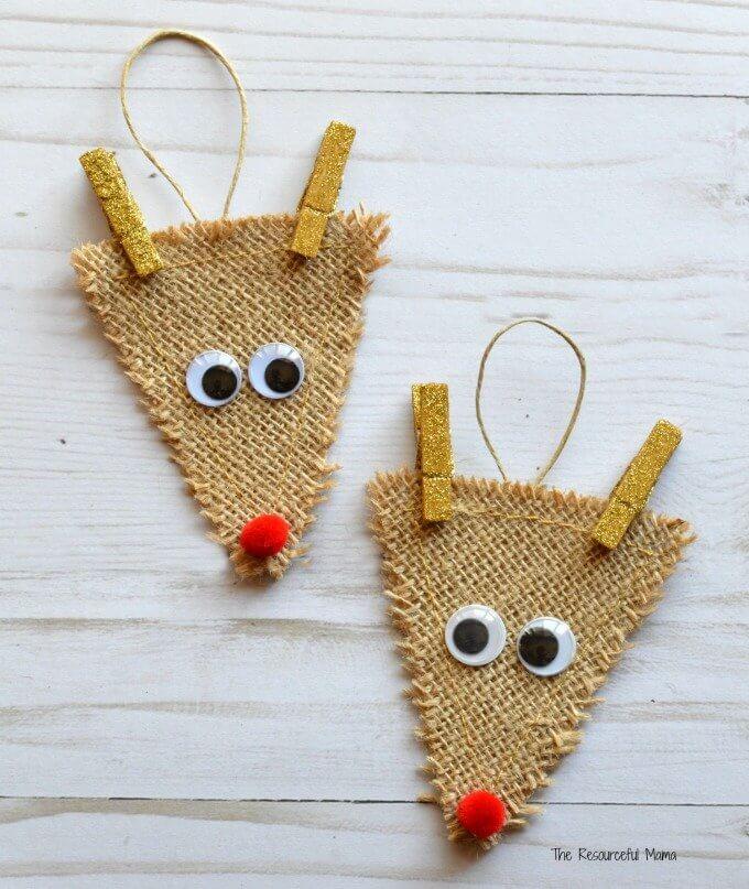 burlap reindeer ornament crafts