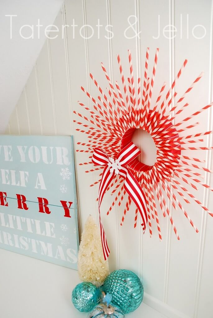 diy christmas dollar tree wreath paper straw