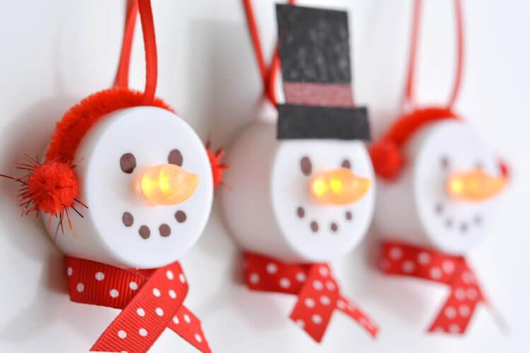 diy christmas dollare tree tea light snowman orenaments craft