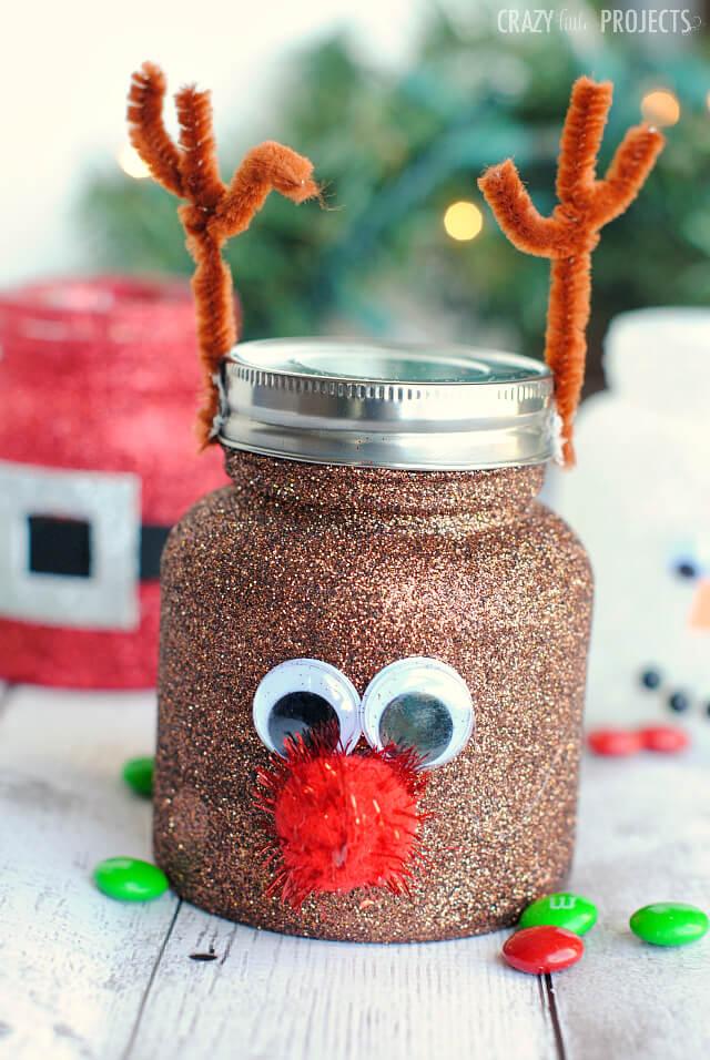 dollar store christmas crafts reindeer jar