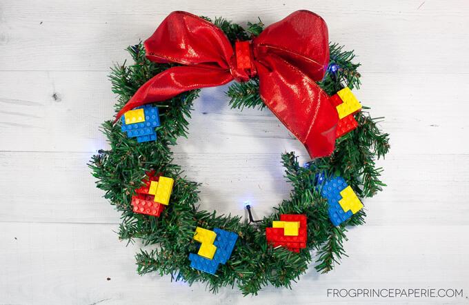 dollar tree christmas wreath craft with lego