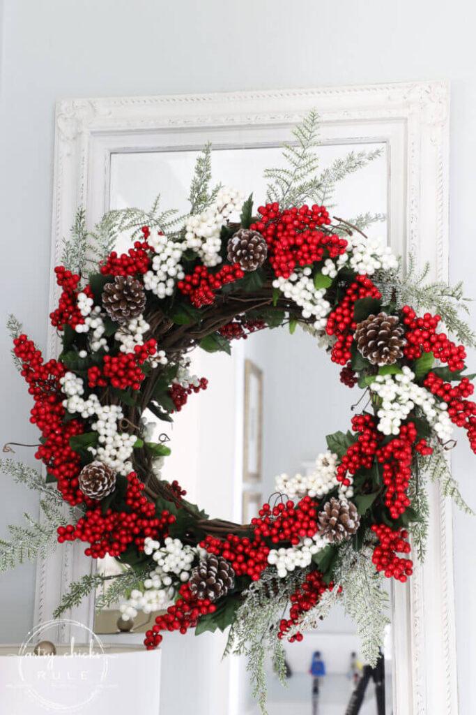 dollar tree diy christmas berry wreath