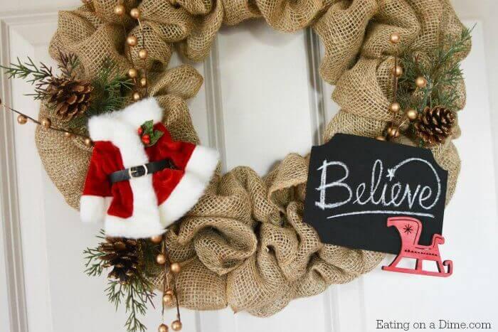 easy diy christmas burlap wreath dollar tree