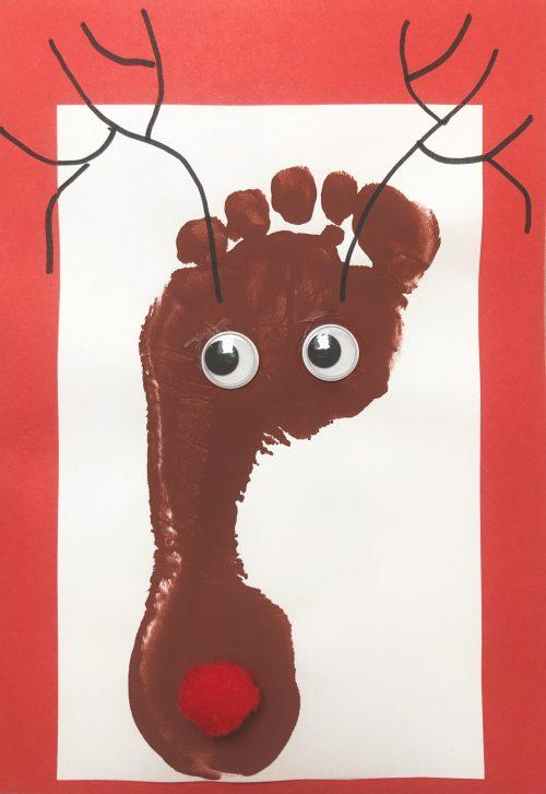 footprint reindeer kids crafts