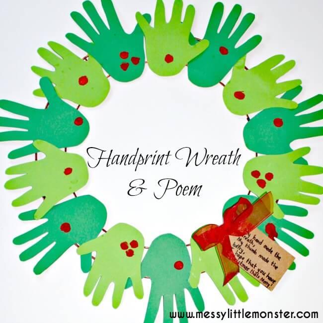 handprint wreath with poem kids crafts