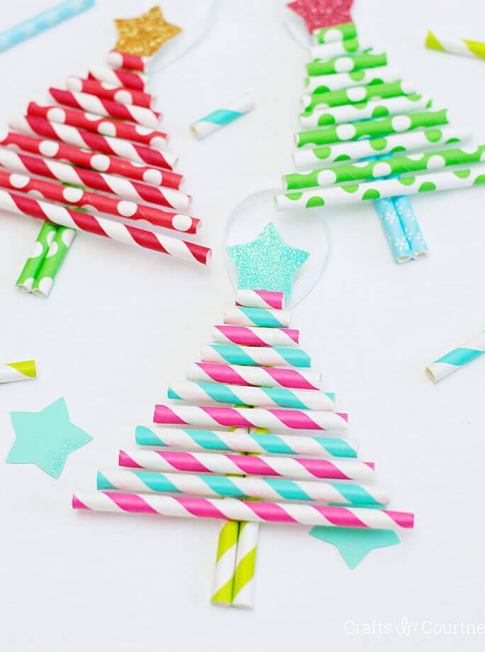 kids craft paper straw ornaments