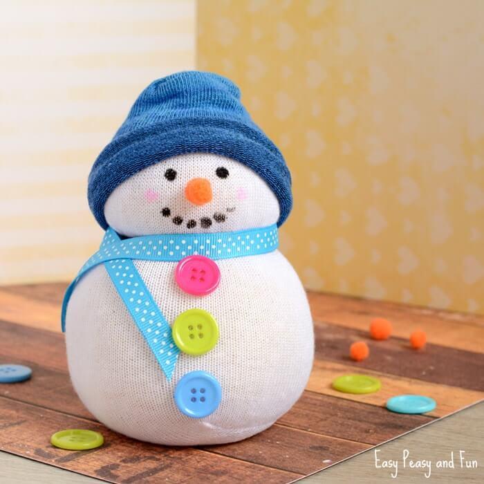 no sew sock snowman diy christmas craft
