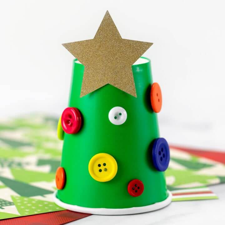 paper cup christmas tree kids crafts