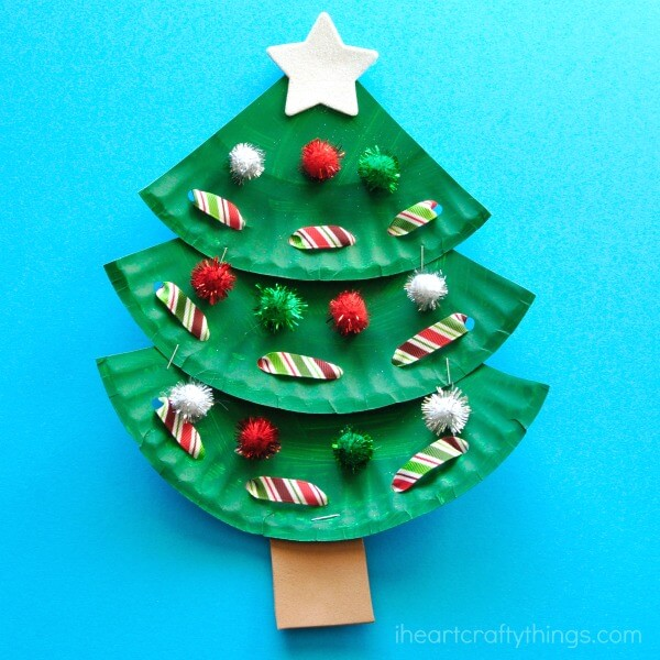paper plate christmas tree kids crafts