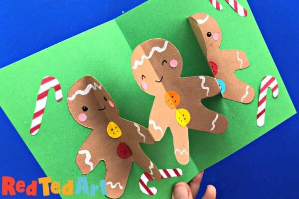pop up gingerbread man card kids crafts