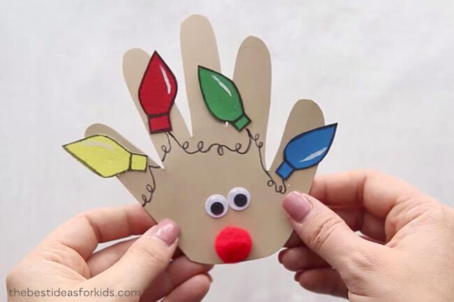 reindeer christmas craft handprint card