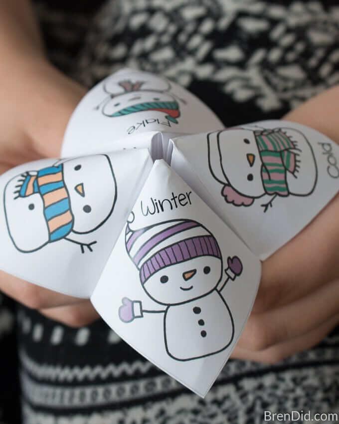 snowman joke tellers paper craft for kids fun