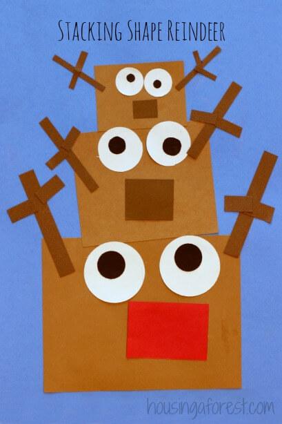 stacking shape reindeer kids crafts