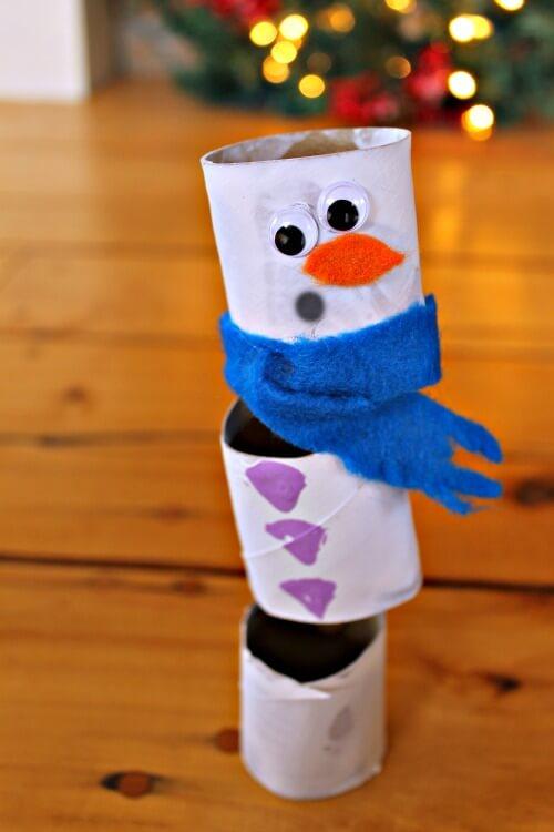 toilet roll snowman kids crafts christmas