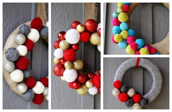 yarn ball christmas wreath diy