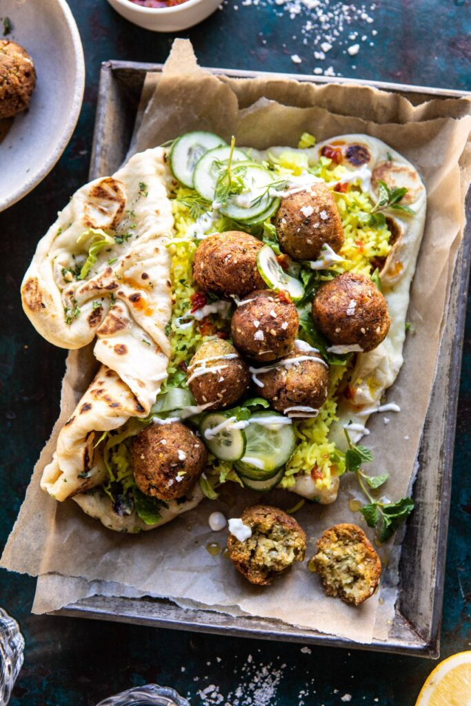 Falafel-naan-wraps-with-golden-rice-and-special-sauce
