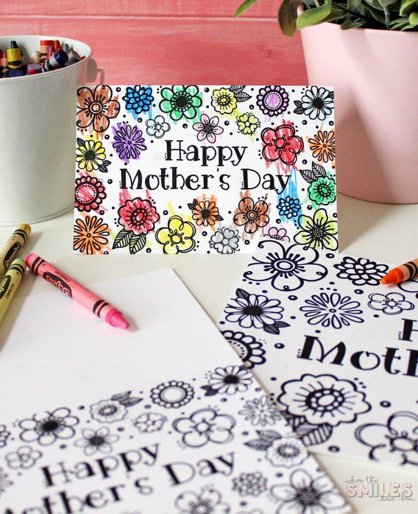 Muttertags-Malvorlagen-Karte