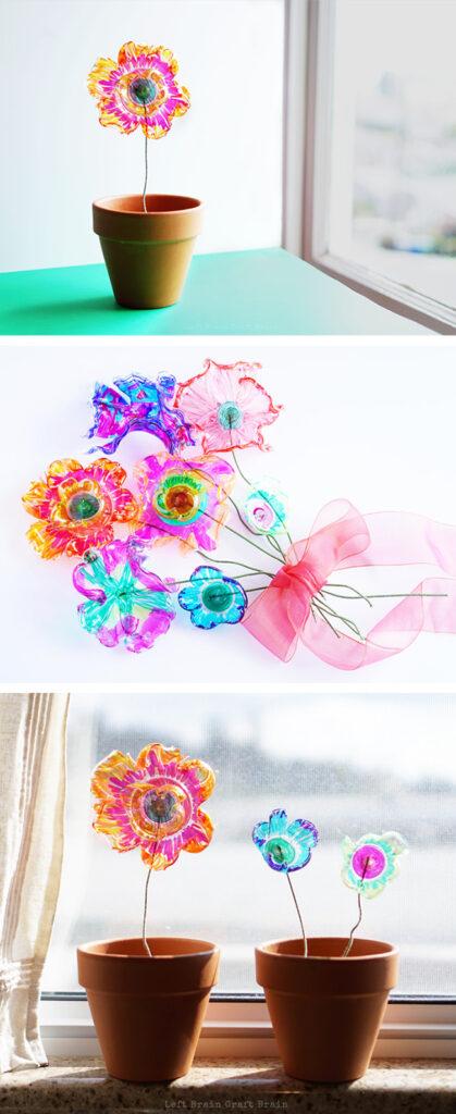 Recycling-Blumen-Bastelarbeiten-für-Kinder