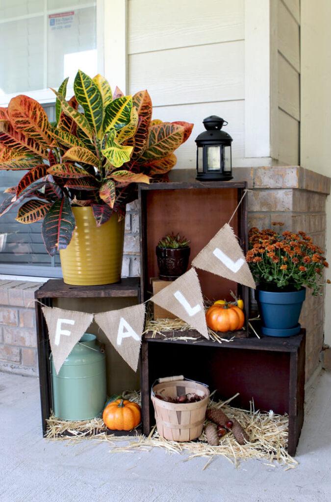 DIY Fall Outdoor Crate Display Decor