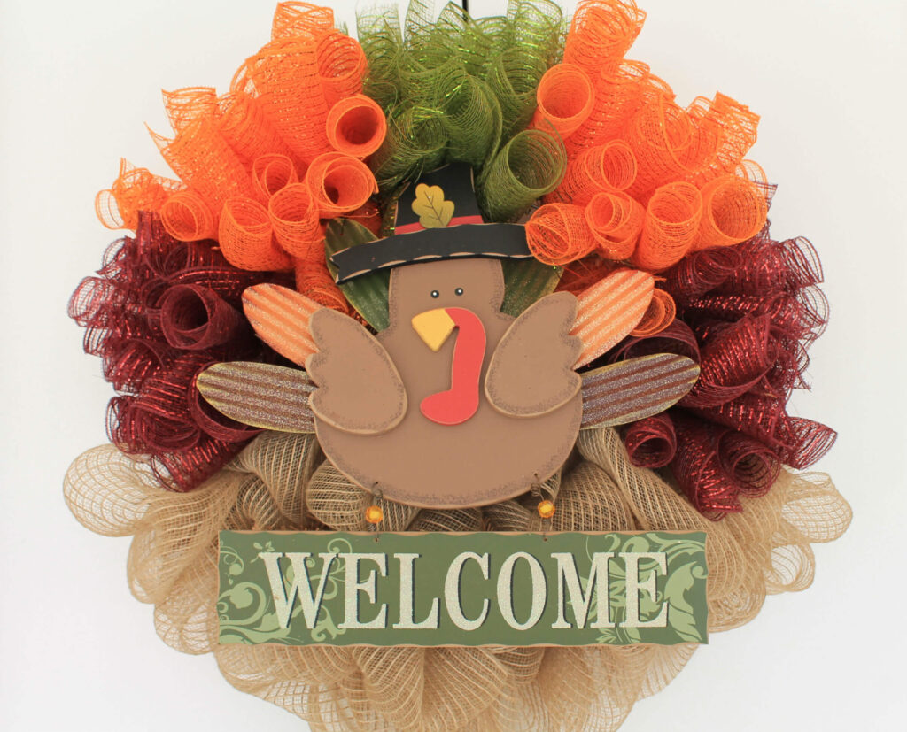 diy turkey mesh wreath