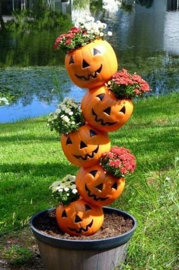 fall outdoor decor pumpkin planter