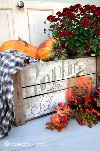 outdoor fall decoration pumpkin crate