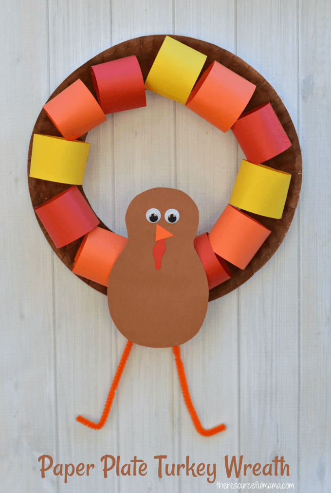 paper plate turkey wreath with legs