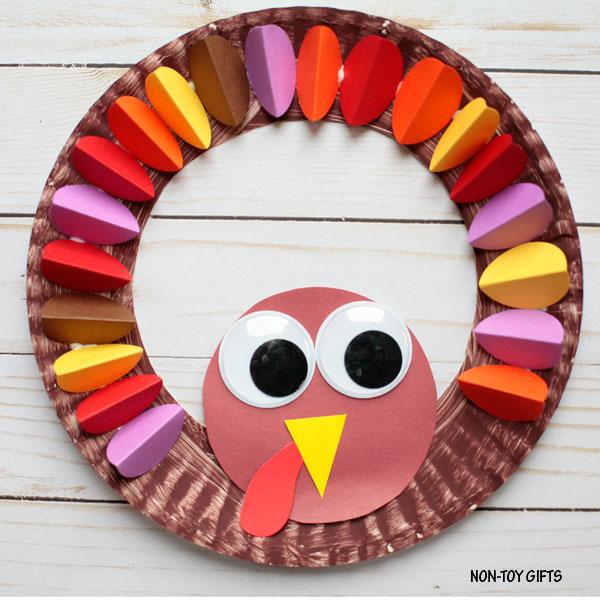 paper turkey wreath for kids