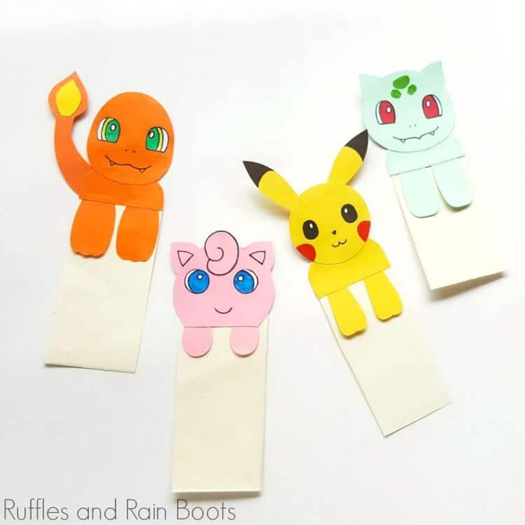 pokemon bookmark craft for kids
