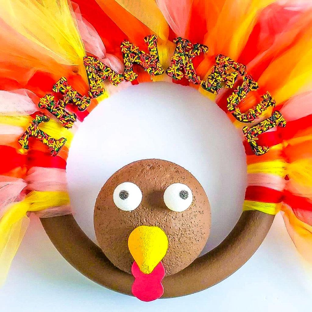 thanksgiving tulle turkey wreath