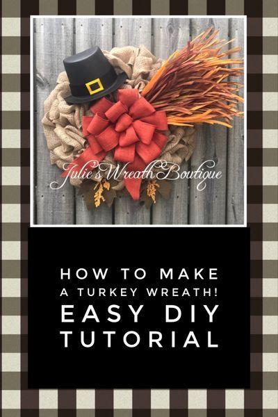 turkey burlap wreath youtube tutorial