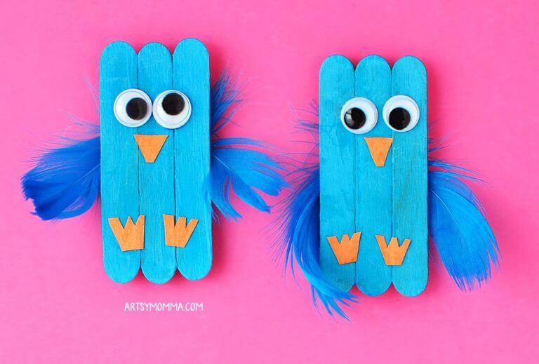 blue bird popsicle craft