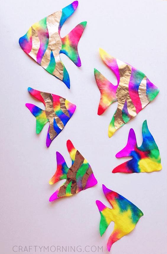 coffee-filter-tin-foil-fish-kids-craft