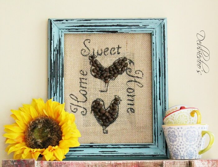 diy burlap craft with coffee beans