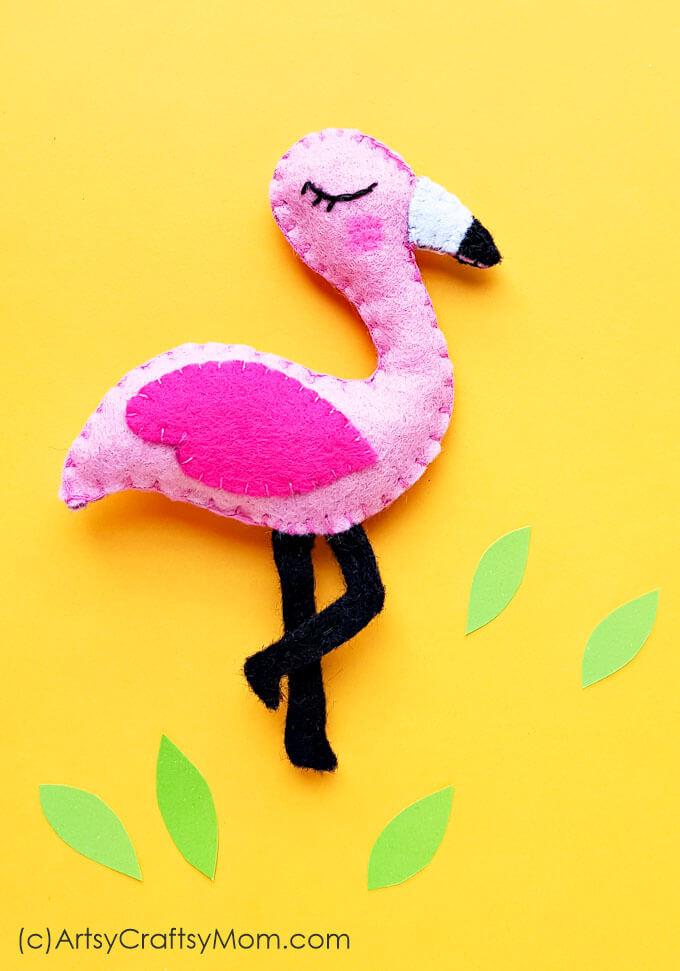 diy flamingo bird plush craft