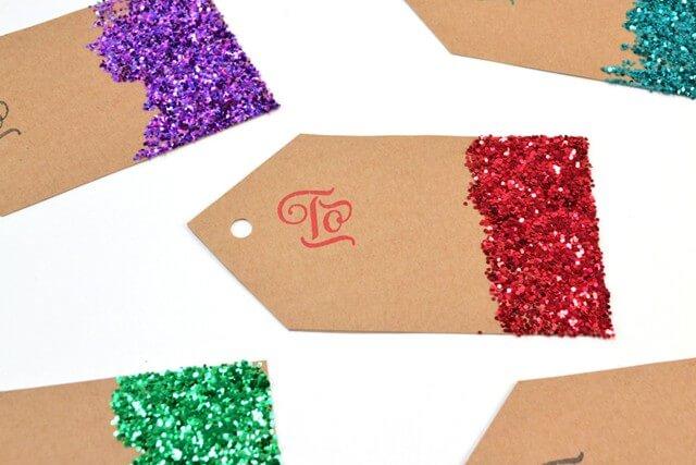 diy glitter gift tags