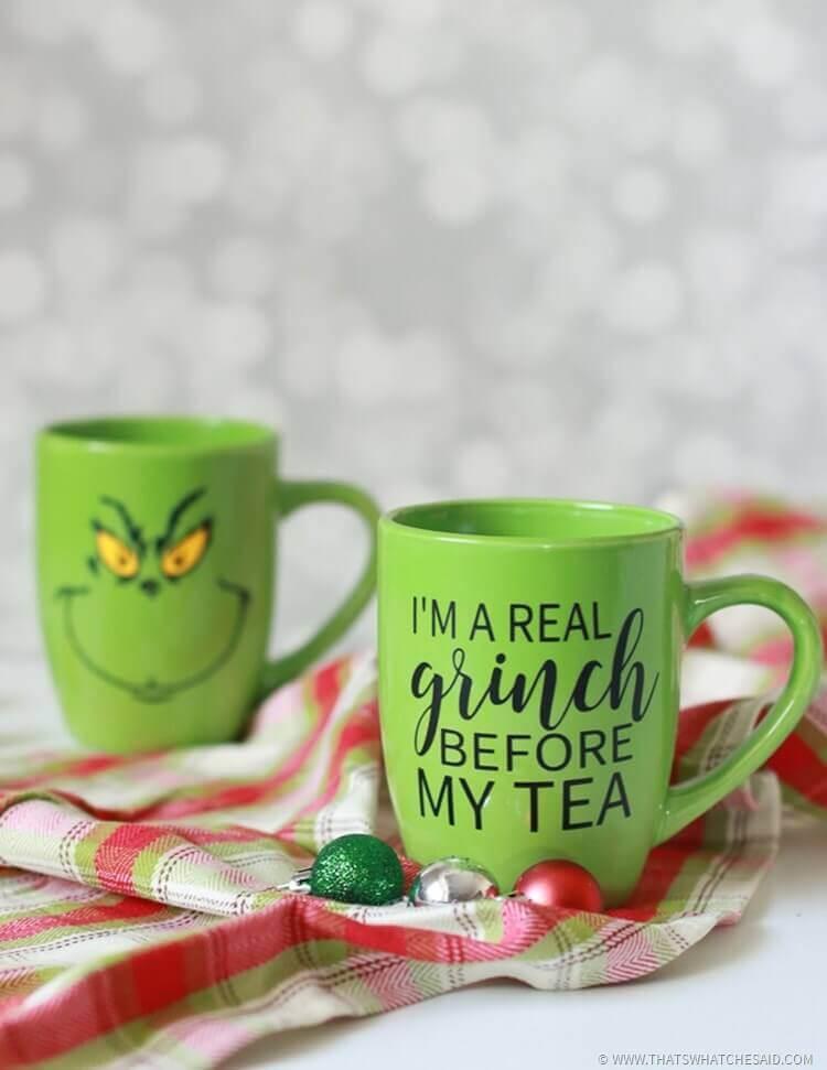 diy grinch decoration coffee mug