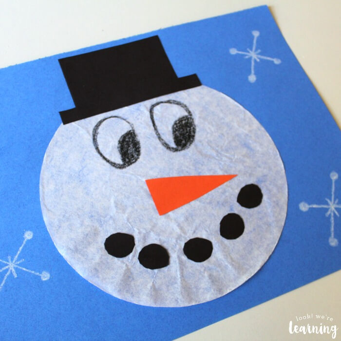 easy coffee crafts with filter snowman