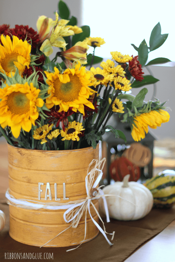 fall flower vase coffee can crafts