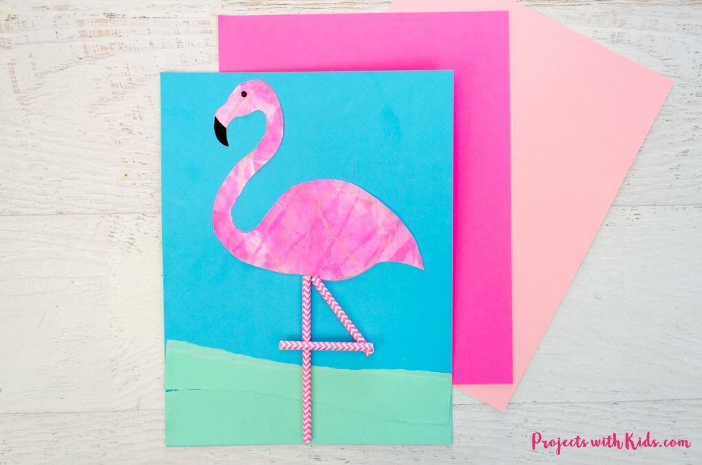 flamingo scrape painting diy